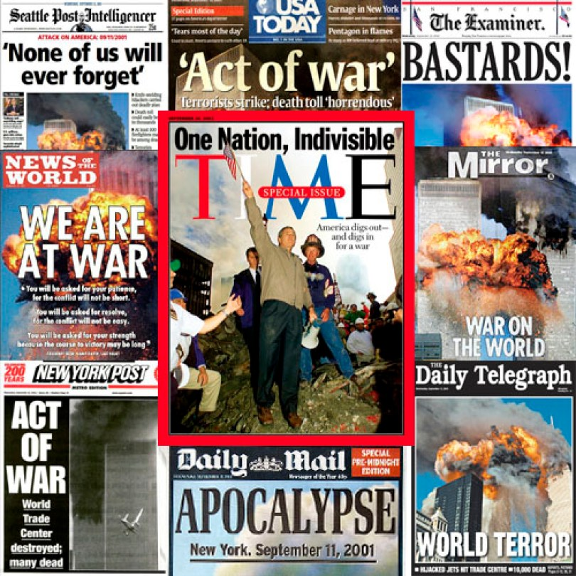 collage of newspapers from 9/11