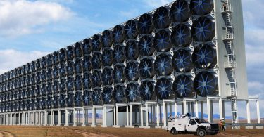 giant banks of fans stacked 4 high to suck co2 out of the air