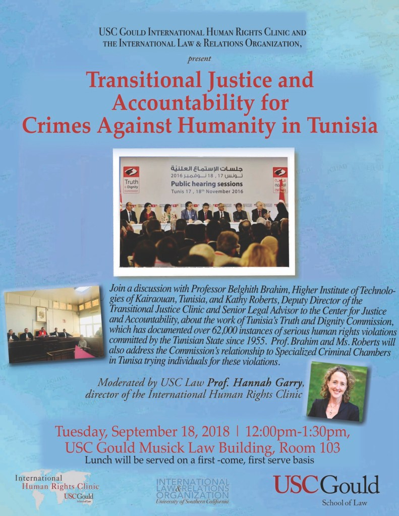 """Image of a flyer for the event """"Transitional Justice and Accountability for Crimes Against Humanity in Tunisia"""""""