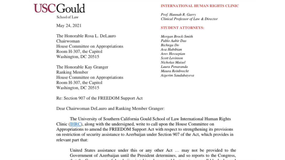 The International Human Rights Clinic, partners, and professors request that U.S. Congress hold Azerbaijan accountable for human rights violations, amend Section 907 of the FREEDOM Support Act