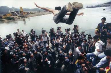 A 1996 protest at Rennie's Mill, then a refugee area in Hong Kong. Copyright: Stephen Shaver.