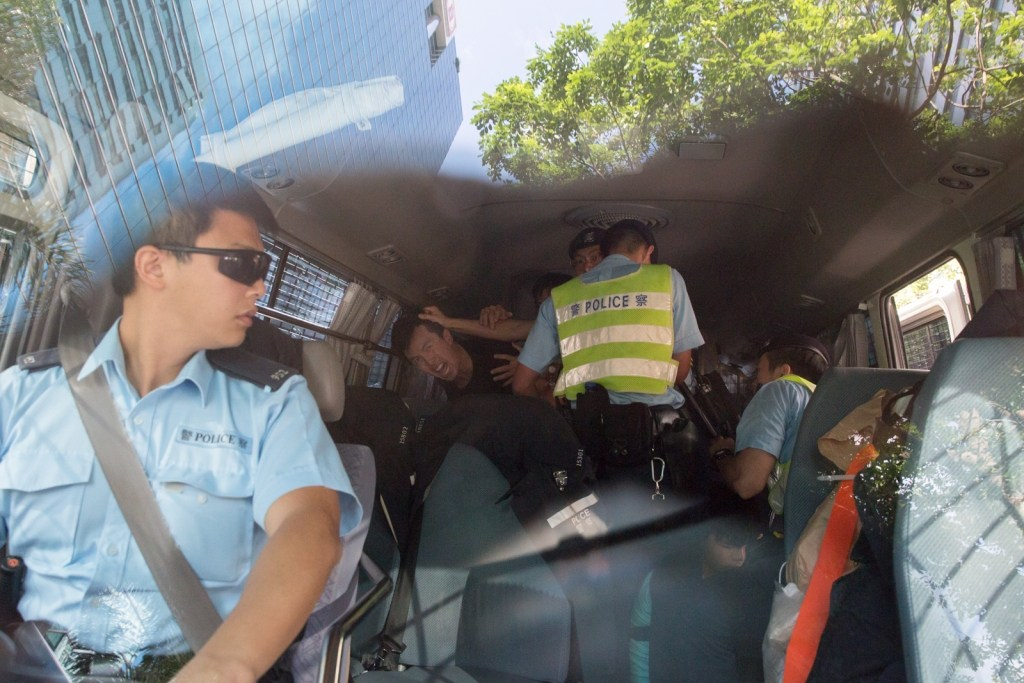 Inside and outside the police car