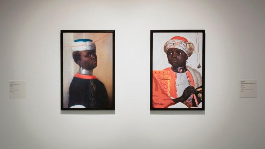 Huidskleur, kunst, centraal museum. Twee portretten van zwarte mensen in Oosterse kledij. Deze figuren waren eerst bijfiguren uit Nederlandse schilderijen, maar ze zijn nu juist centraal afgebeeld.