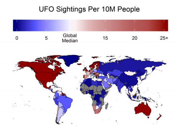A Map Of The Work With Ufo Sightings Per 10 Million People.
