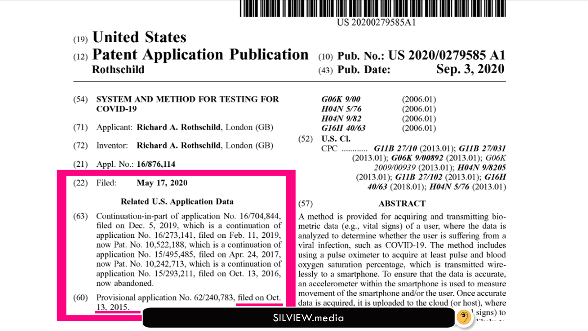 Proof That Rothschilds Patented Covid 19 Biometric Tests In 2015 And 2017