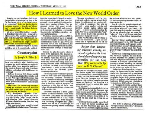 Joe Biden em 1992 Como Aprendi a Amar a Nova Ordem Mundial