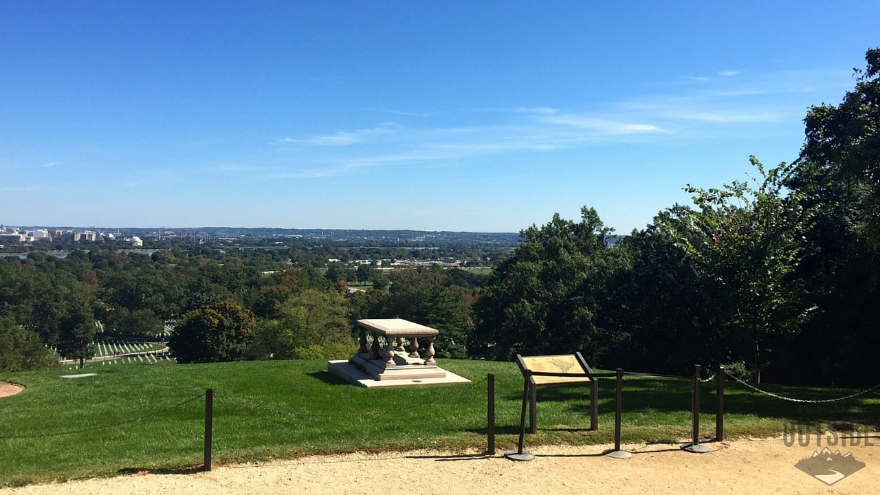 From the steps of Arlington House visitors can see this view down onto the cemetery and out over Washington, D.C.