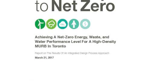 "graphic of a city skyline along the bottom of a report title page called ""Roadmap to Net Zero: achieving a net-zero energy, waste, and water performance level for a high-density MURB in Toronto"""