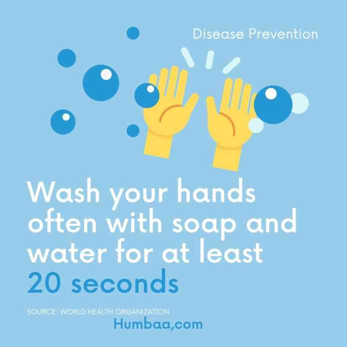 Wash your hands often with soap and water for at least 20 seconds