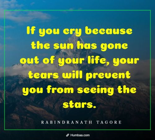 If you cry because the sun has gone out of your life, your tears will prevent you from seeing the stars. By Rabindranath Tagore on Humbaa.com