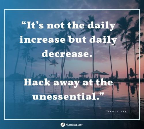 """It's not the daily increase but daily decrease. Hack away at the unessential."" by Bruce Lee on Humbaa"