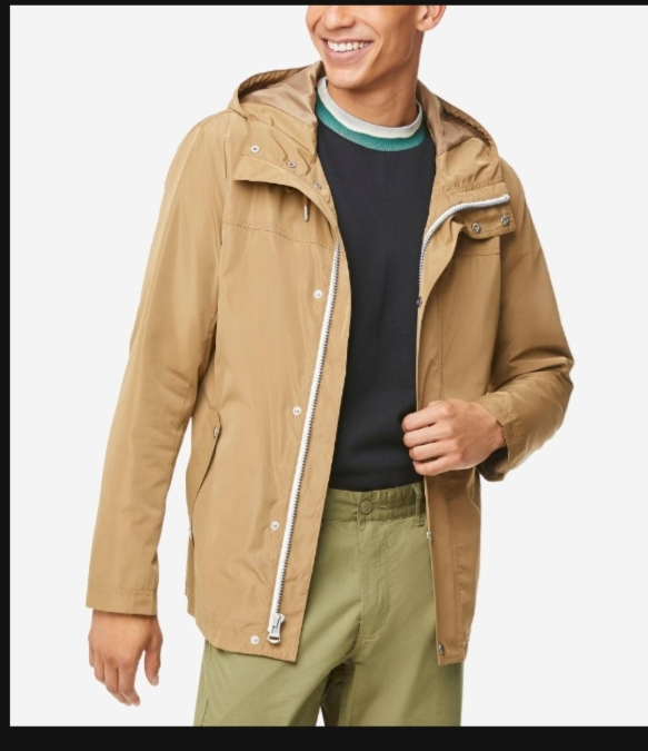 COLE HAAN MEN'S HOODED RAIN JACKET