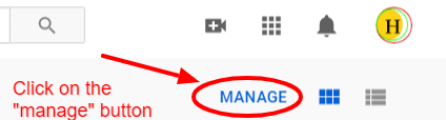 Click on the manage button