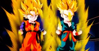 Gotan and Trunks while training from Dragon Ball Z