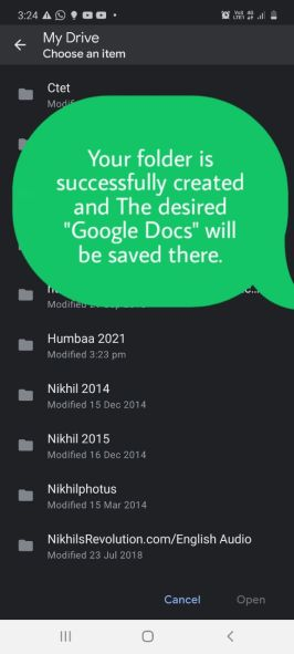 """Your folder is successfully created and the desired """"Google Docs"""" will be saved there."""