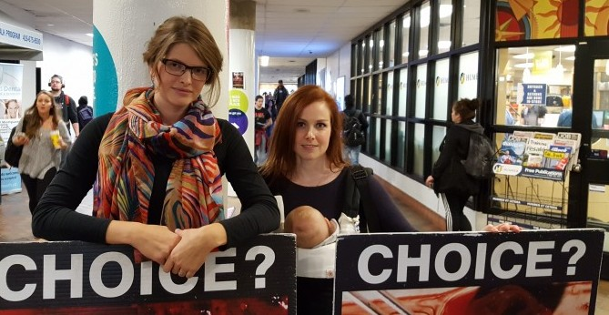 Maaike Rosendaland Katie Somers, members of the anti-abortion group, are allowed on college campuses because they are public space.