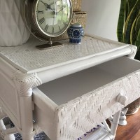 White Rattan Bedside Table with Drawer/Hampton's/Coastal ...