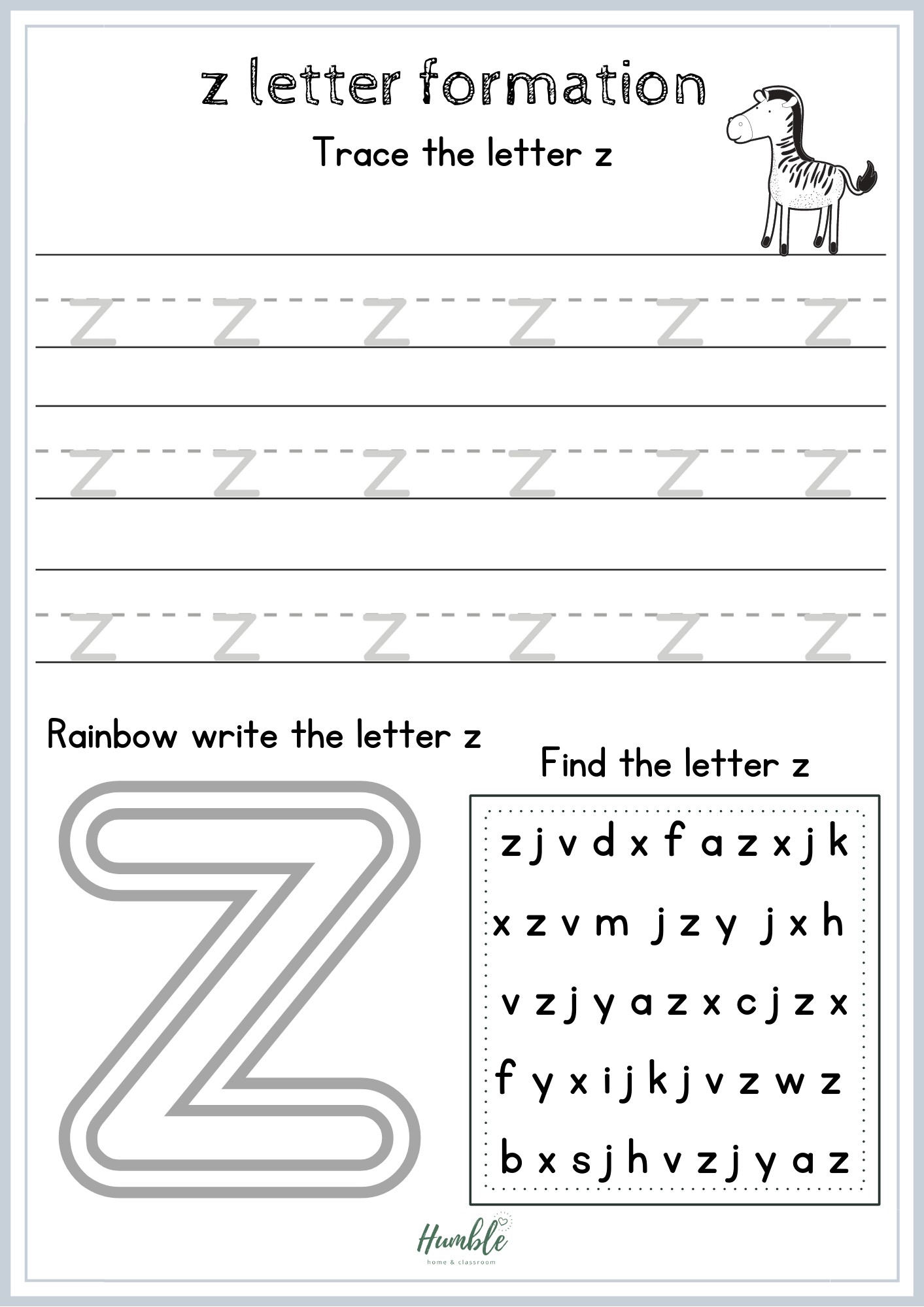 Free Printable Z Phonics Letter Formation Sheet
