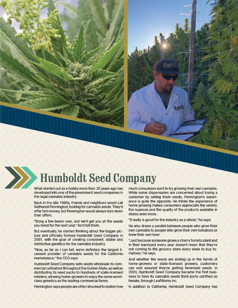 Humboldt Seed Company Feature in Marijuana Venture Magazine