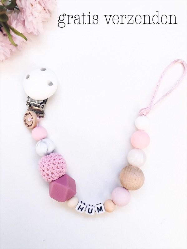 Speenkoord met kralen in de kleuren roze en wit