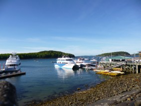 View driving over the bay into Bar Harbor