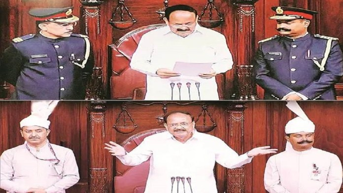 opposition-uproar-over-the-new-uniform-of-marshals-in-the-rajya-sabha-2