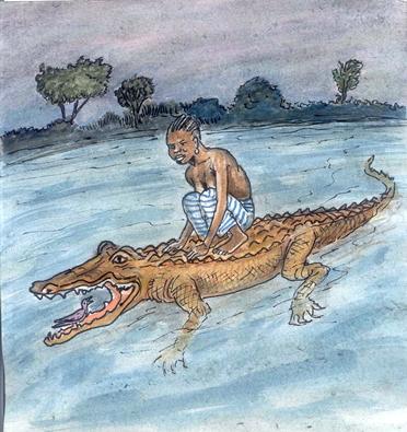 La jeune femme, la tourterelle et le vieux crocodile