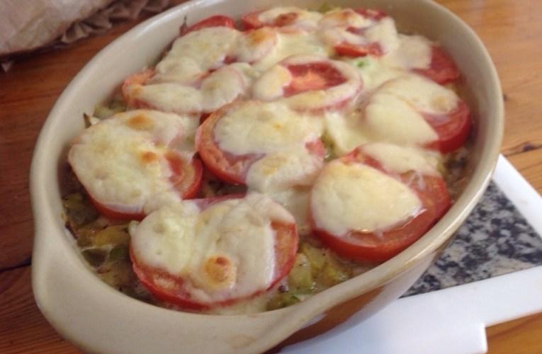 Gratin de courgettes, tomates, chèvre mozzarella