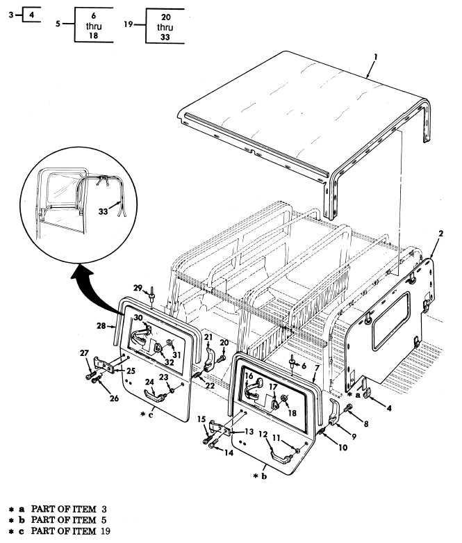 Four Man Crew Soft Top Enclosure, Top Assembly, Rear