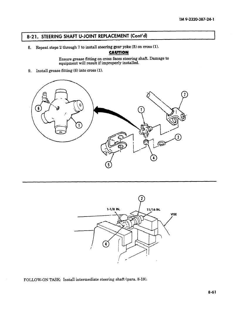 hight resolution of repeat steps 2 through 7 to install steering gear yoke 5 on cross 1 caution ensure grease fitting on cross faces steering shaft