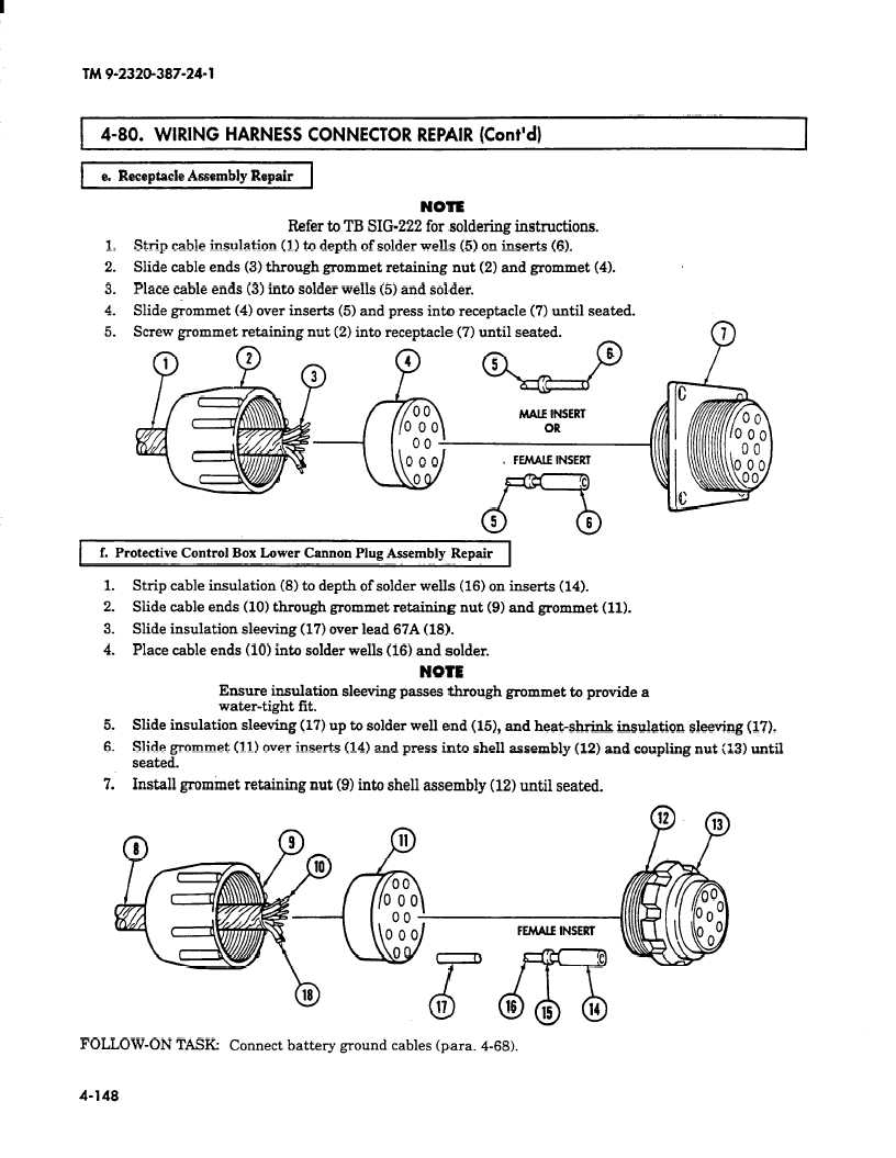 hight resolution of wiring harness connector repair cont d i e receptacle assembly repair note refer to tb sig 222 for soldering instructions 1 strip cable insulation 1