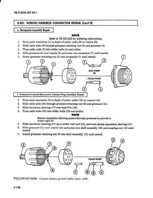 small resolution of wiring harness connector repair cont d i e receptacle assembly repair note refer to tb sig 222 for soldering instructions 1 strip cable insulation 1