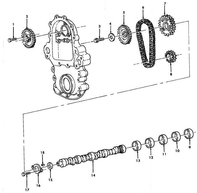 Figure 7. Camshaft, Timing Chain, and Related Parts.