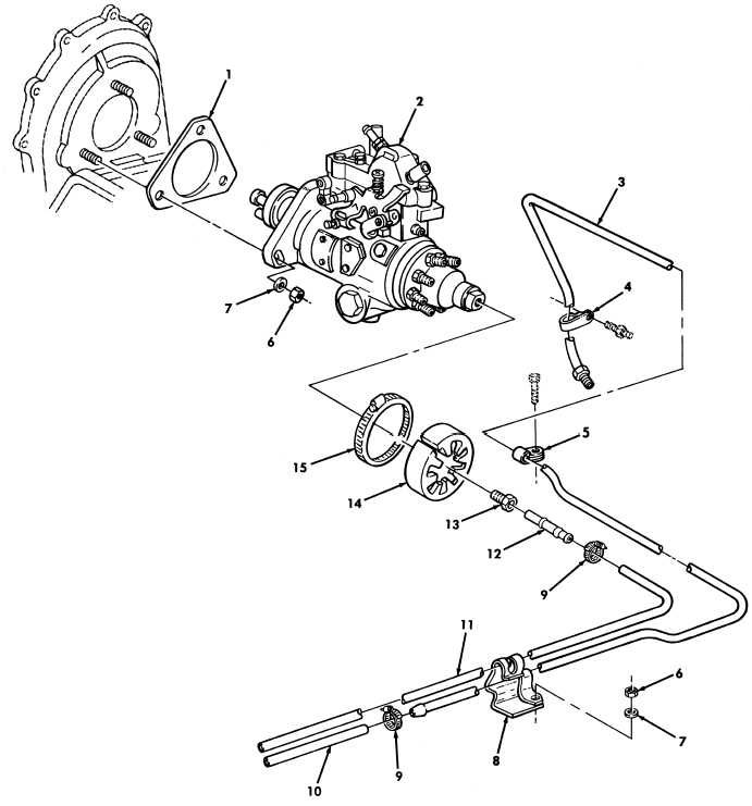 Figure 17. Fuel Injection Pump and Fuel Filter Lines
