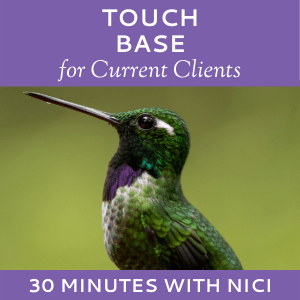 Schedule a Touch Base with Nici Lucas of Hummingbird Marketing Services (for Current Clients)
