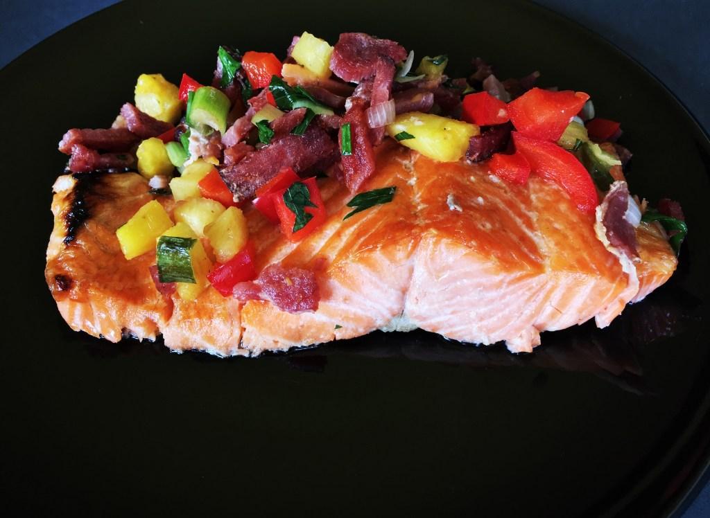 Salmon with Pineapple and Crispy Bacon Salsa 1