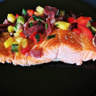 Salmon with Pineapple and Crispy Bacon Salsa 1
