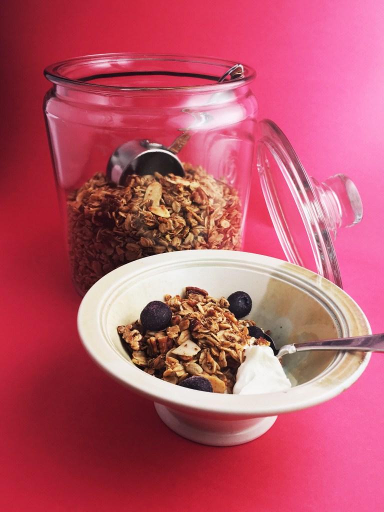 Homemade granola open jar