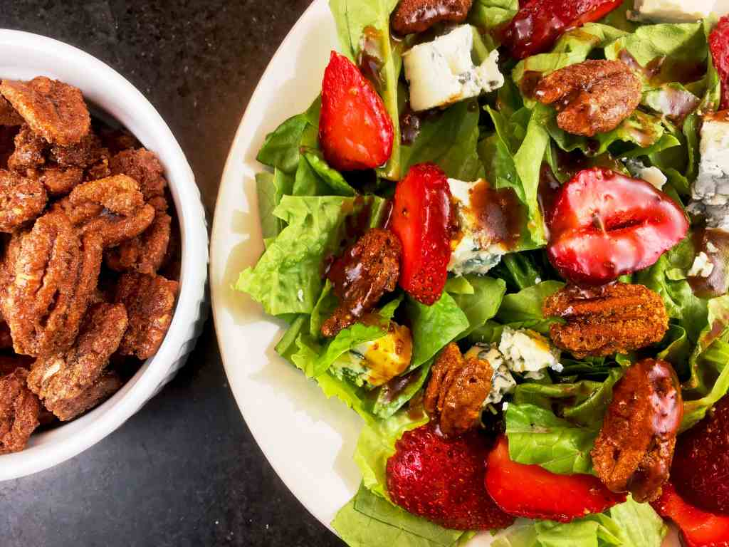 Strawberry Salad with Sweet Spicy Pecans