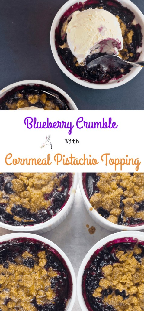 Blueberry Crumble with Cornmeal Pistachio Topping
