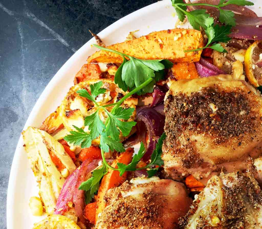 Roasted Root Vegetable Medley with Indian-Spiced Chicken