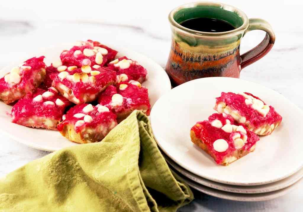 Brown Butter Blondies with Rhubarb white chocolate