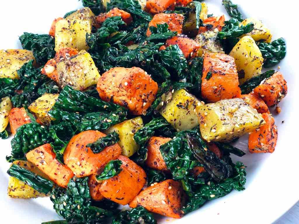 Sumac-Spiced Sweet Potatoes and kale