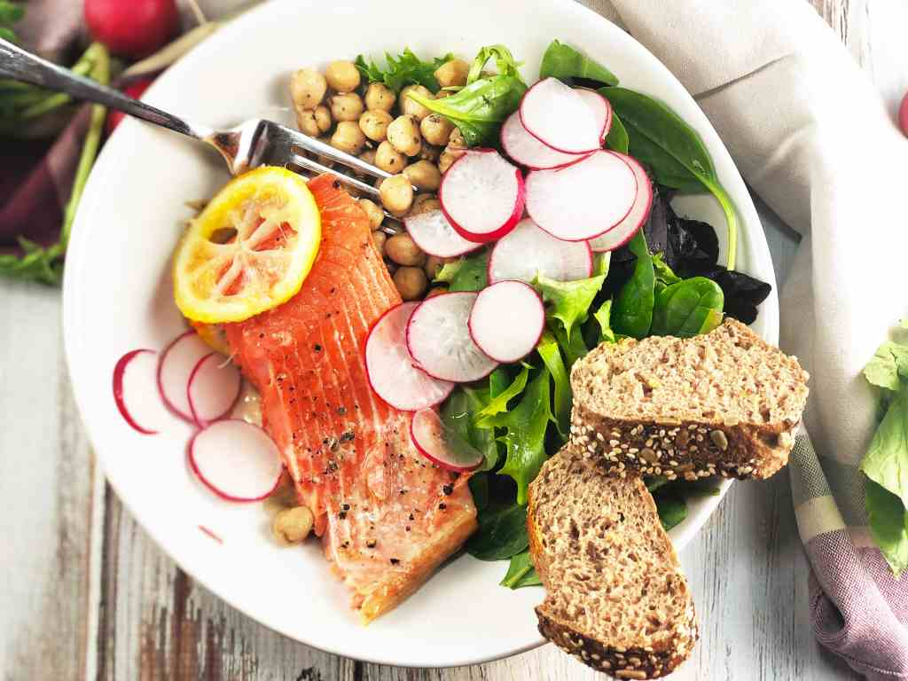 Za'atar Salmon Chickpea Salad Bowl