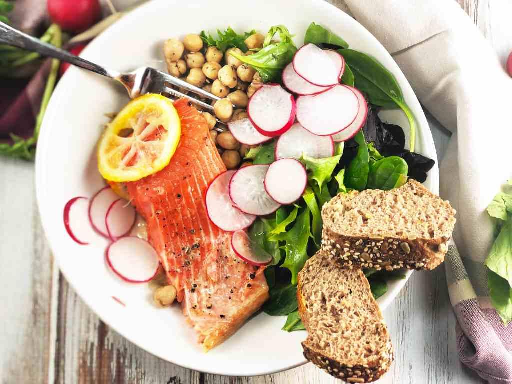 Za'atar Salmon Chickpea Salad Bowl
