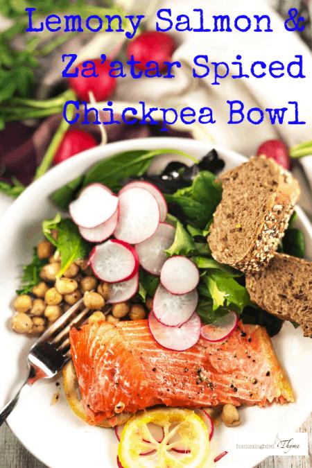Lemony Salmon Spicy Chickpea Salad Bowl
