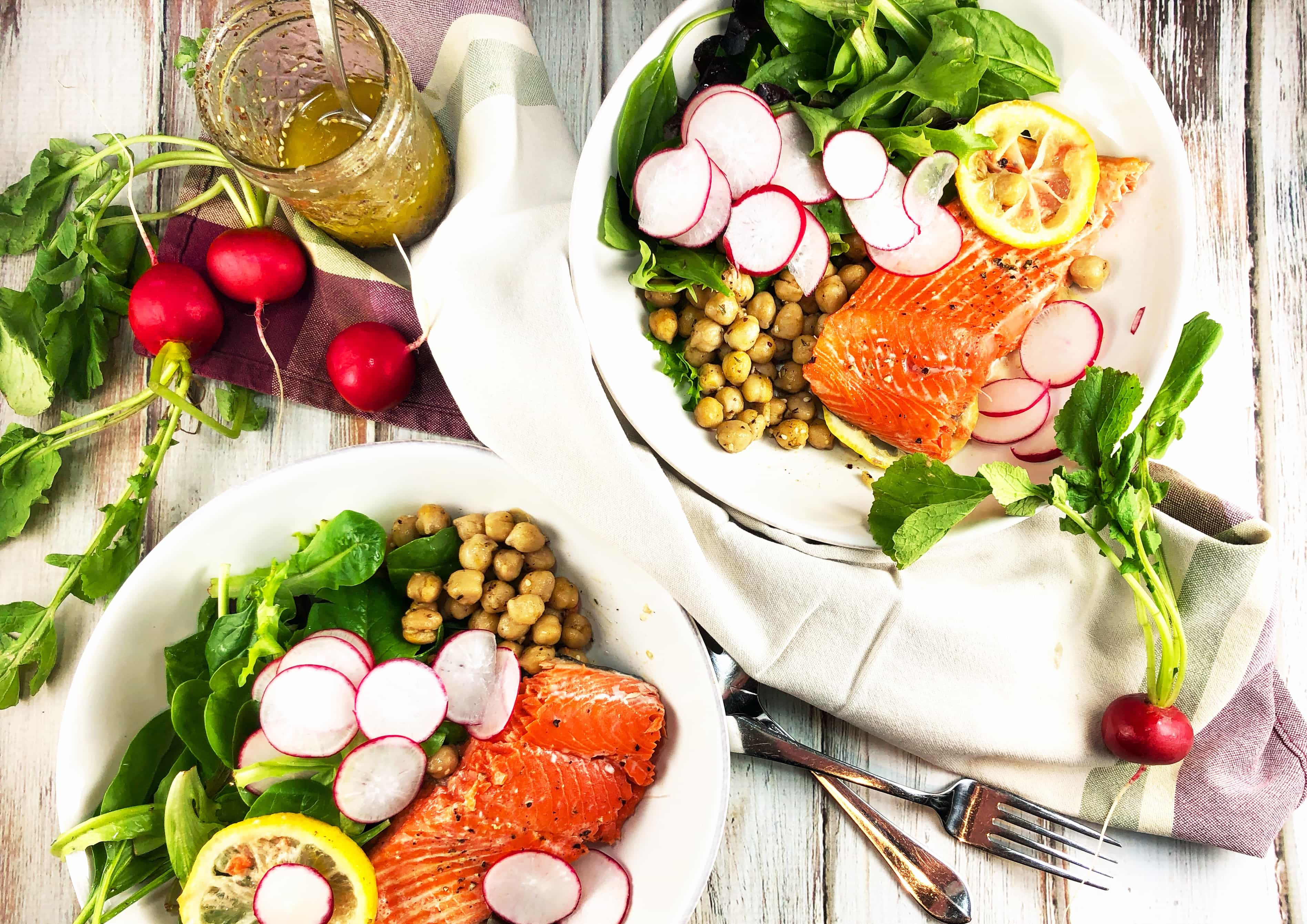 Healthy Bowl Lemony Salmon with Za'atar Spiced Chickpeas