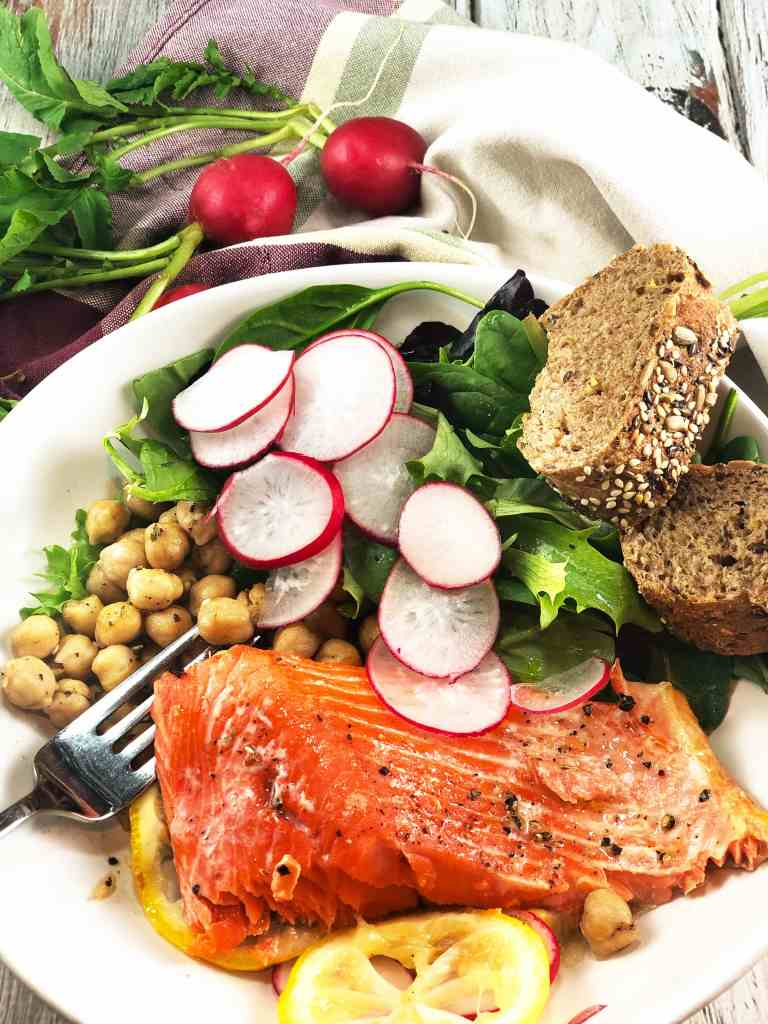 Lemony Salmon Za'atar Spiced Chickpea bowl