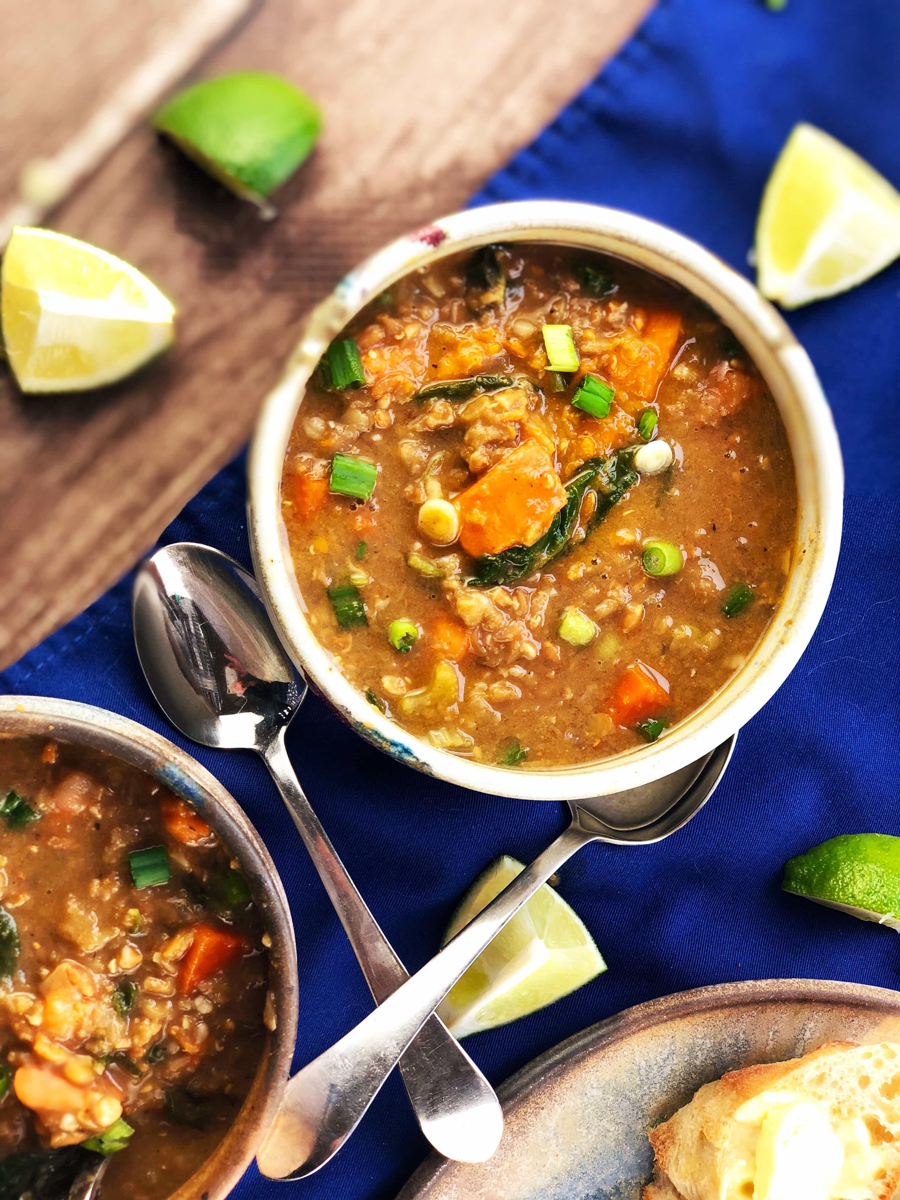 Lentil Farro Sweet Potato Soup