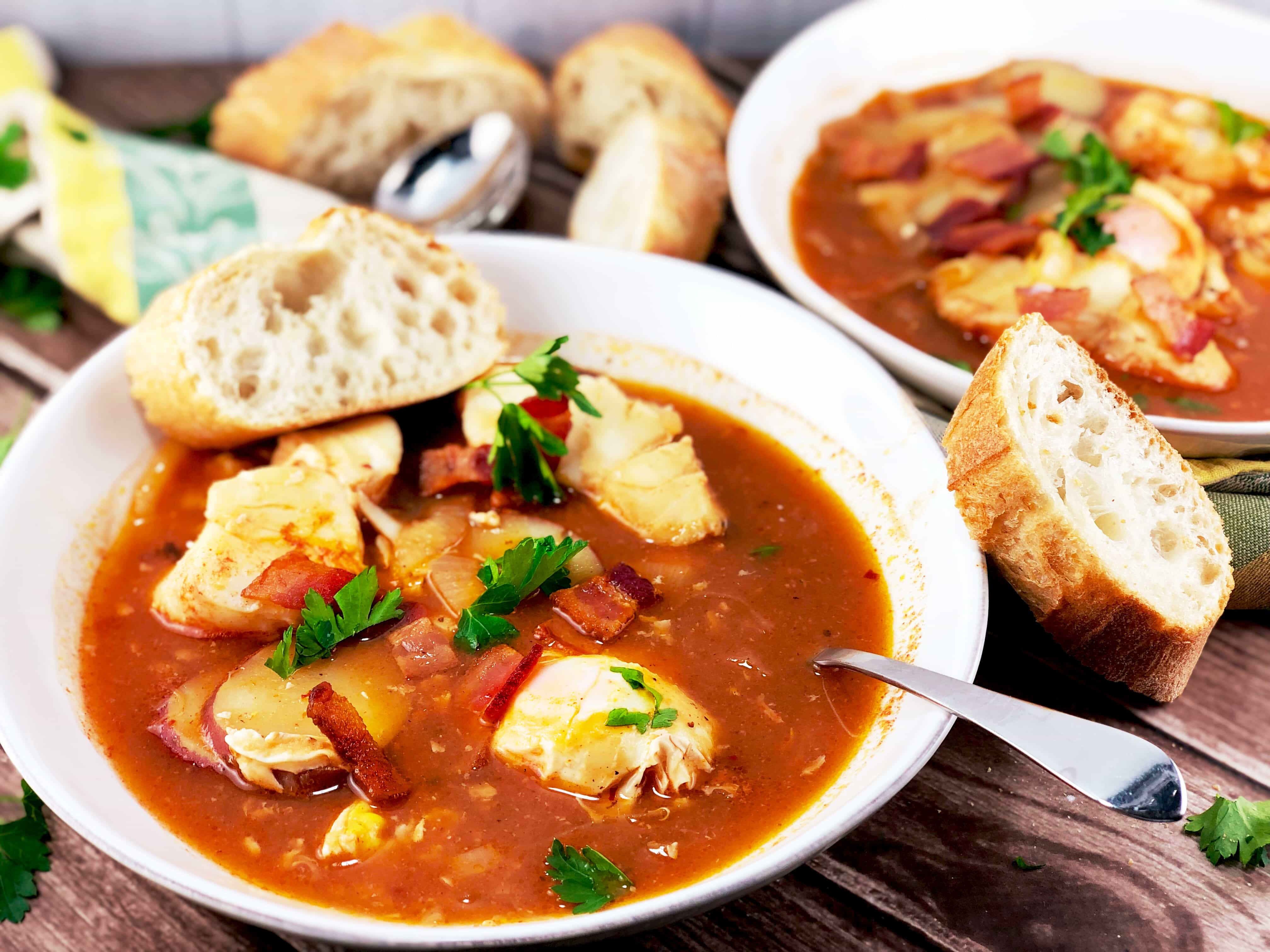 North Carolina Fish Stew with egg, whitefish and bacon